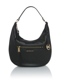 Rhea zip black shoulder hobo bag