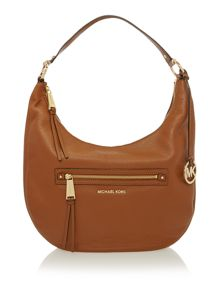 Michael Kors Rhea zip tan shoulder hobo bag