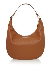 Rhea zip tan shoulder hobo bag