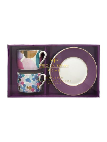 Pied a Terre Diffusion Tea Cup & Saucer Set Of 2