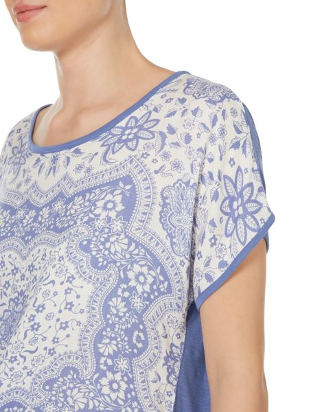 Linea Weekend Willow scarf print woven front top
