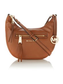 Rhea zip tan cross body hobo bag