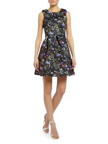 Sleeveless floral print scuba fit and flare dress