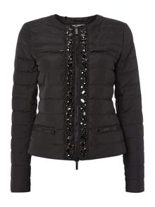 Padded short jacket with embellishment