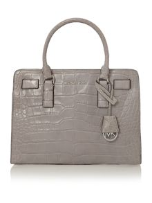 Dillon grey croc small tote bag