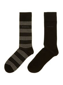 2 pack stripe and plain sock