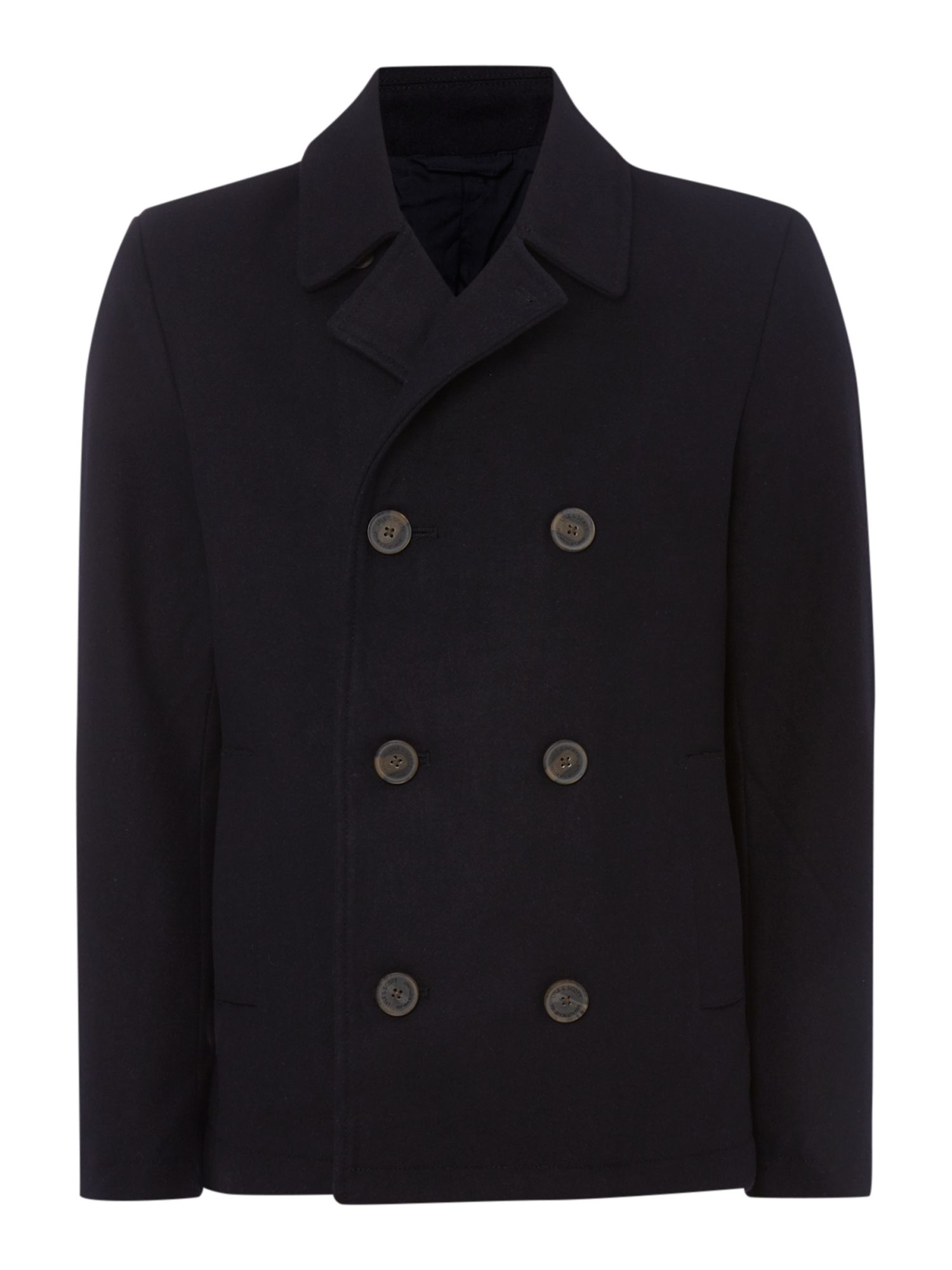 Mens Lyle and Scott Pea Coat Navy