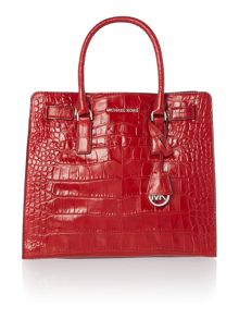 Dillon red croc large tote bag