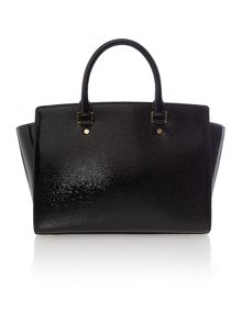 Selma black bark large tote bag