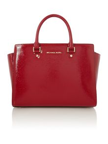 Selma red bark medium tote bag