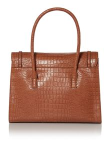 Tan large croc tote bag