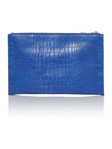 Blue mediumc croc cross body clutch bag
