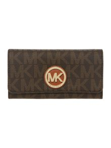 Michael Kors Fulton brown logo flapover purse