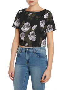 Glamorous Short sleeve textured floral crop top
