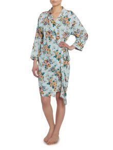 Rose cluster woven viscose robe