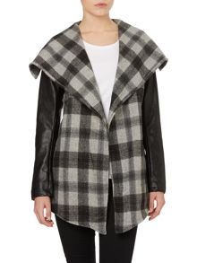 Long sleeve checkline print pu jacket
