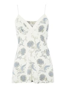 Floral scroll jersey cami top