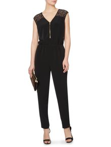 Zip front detail lace panel jumpsuit