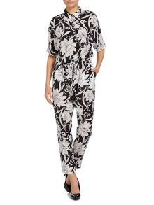 Zeda 3/4 sleeved floral print silk jumpsuit