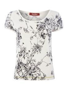 Max Mara Mantova flower sketch knitted top