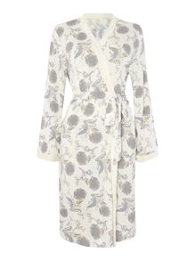 Floral jersey scroll print robe