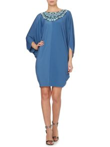 Embroidered neck oversized jersey dress