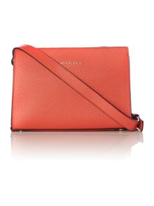 Orange small saffiano cross body bag