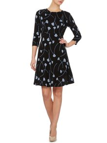 Deco fan print fit and flare jersey dress