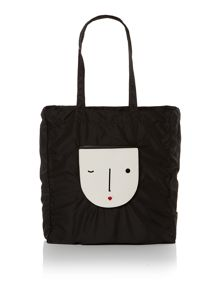 New face black foldaway tote bag