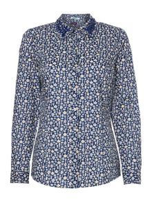 Liberty teacup print embellished shirt