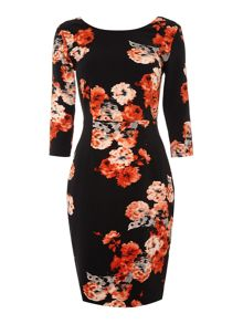 3/4 Sleeveless bodycon floral dress