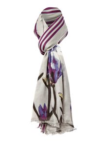 Woven Stripe Floral Scarf