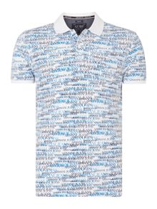 All Over Text Logo Print Polo Shirt
