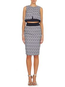 Aztec jacquard bodycon skirt