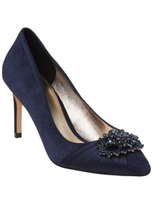 Darcy jewel suede point court shoes