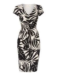 Palm print ruch detail dress