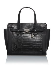 Luella black croc tote bag