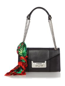 Black small flapover shoulder saffiano bag