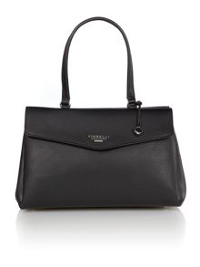 Madison black flap over tote bag