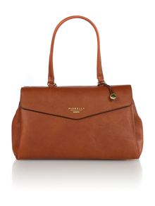Madison tan flap over tote bag