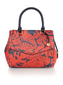 Mia multi coloured leaf print cross body tote bag