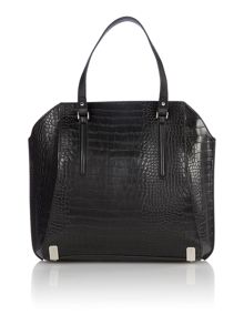 Marina black croc tote bag