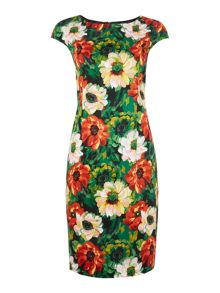 Floral stretch poppy dress