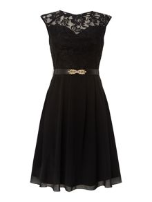 Sleeveless lace belted fit and flare dress