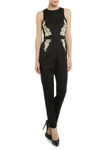 Sleeveless lace applique panel jumpsuit