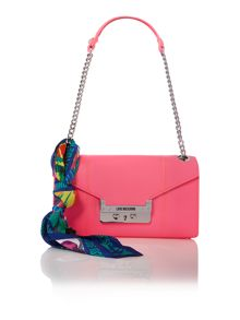 Pink small flapover shoulder bag