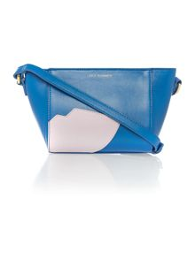 Abstract lip pixie blue small cross body bag