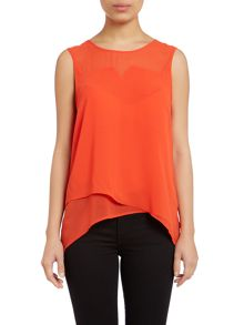 Sleeveless overlap shell top