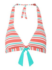 Dickins & Jones Melon stripe Halter Bikini Top