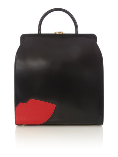 Lulu Guinness Abstract lips eva black large backpack